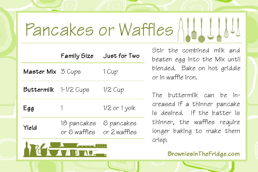Pancakes or waffles master mix theres brownies in the fridge master mix pancake recipe card 6x4 ccuart Gallery